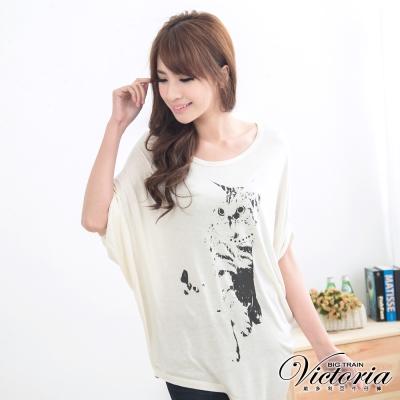 Victoria 貓咪印花飛鼠T-女-米白