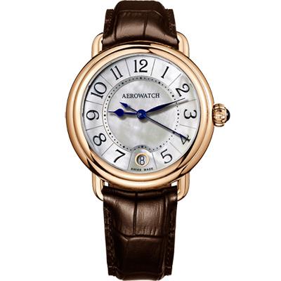 AEROWATCH 歐式風尚經典女錶-珍珠貝x玫瑰金框/35mm