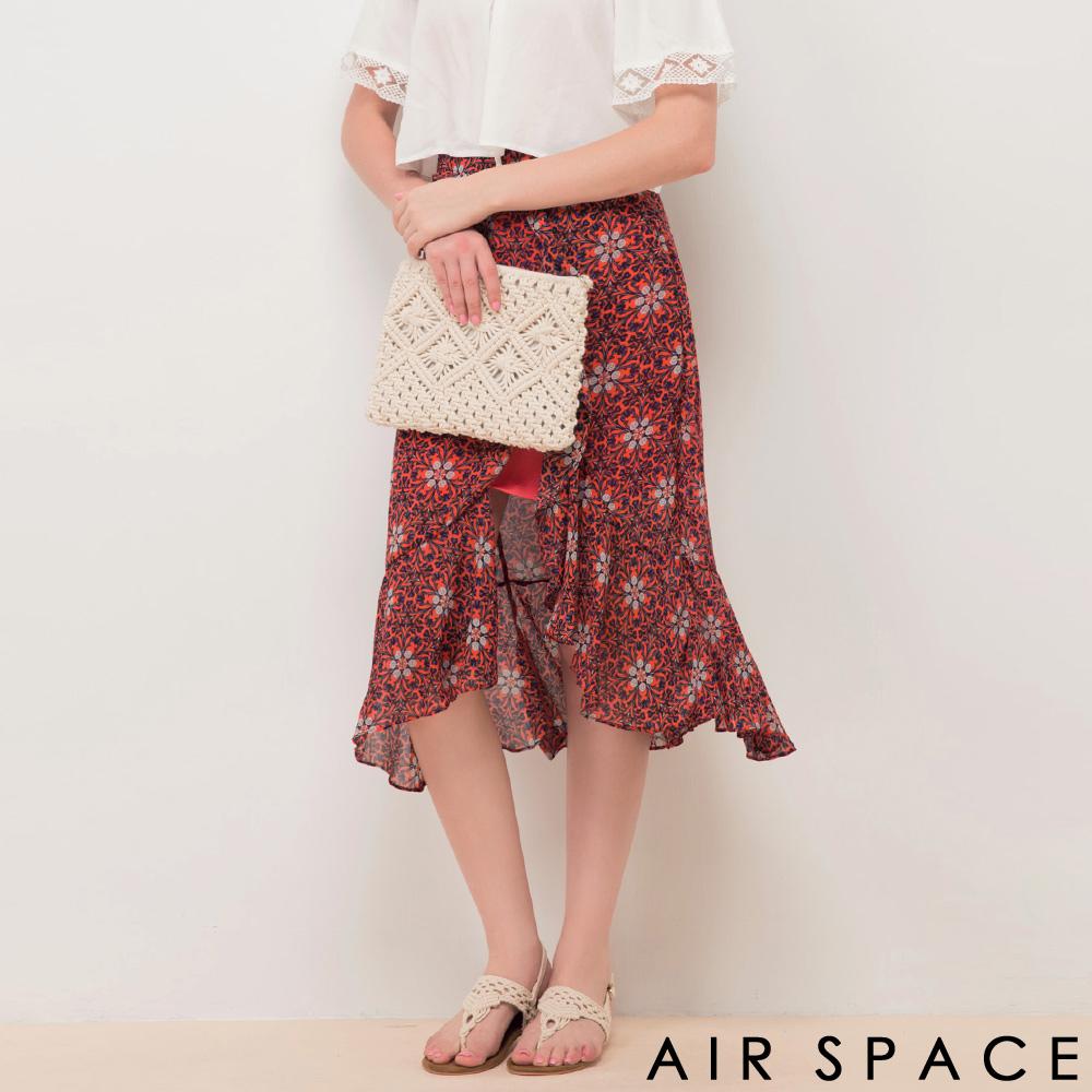 AIR SPACE不對稱魚尾裙襬雪紡花長裙紅