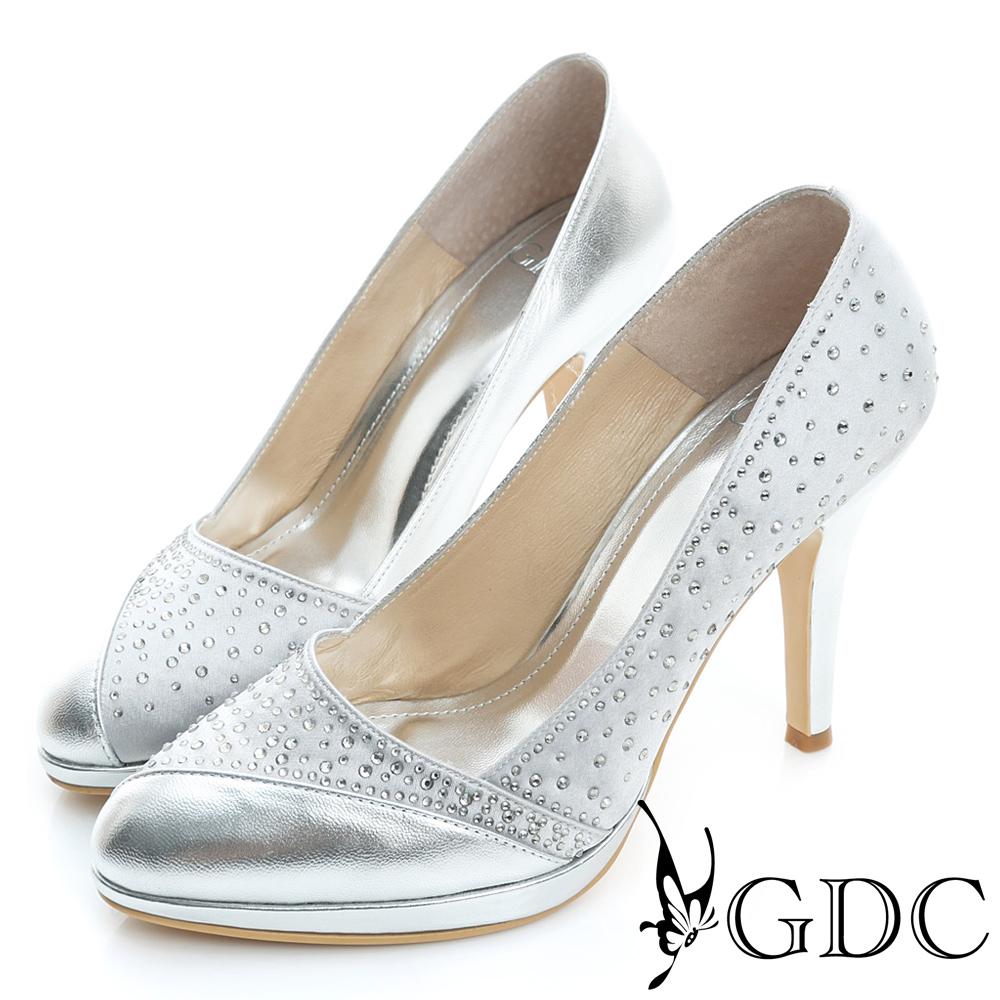 GDC-羊皮水鑽麂皮拼接真皮高跟鞋(婚鞋)-銀色