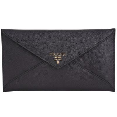 PRADA-信封-防刮-牛皮-手拿包-黑色