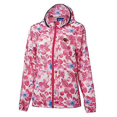 【Wildland 荒野】女時尚抗UV輕薄印花外套-印花粉紅