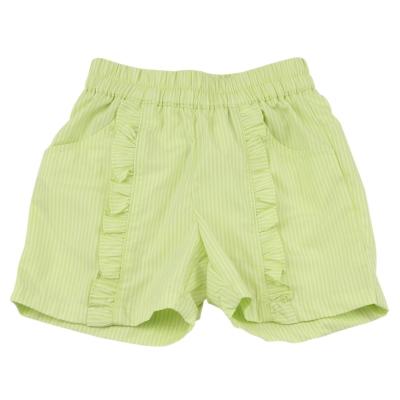 愛的世界 MYBABY 純棉荷葉邊直條紋短褲~果綠 1~3歲