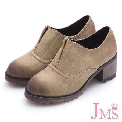 JMS-英倫雅緻造型鬆緊帶V口牛津鞋-卡其色