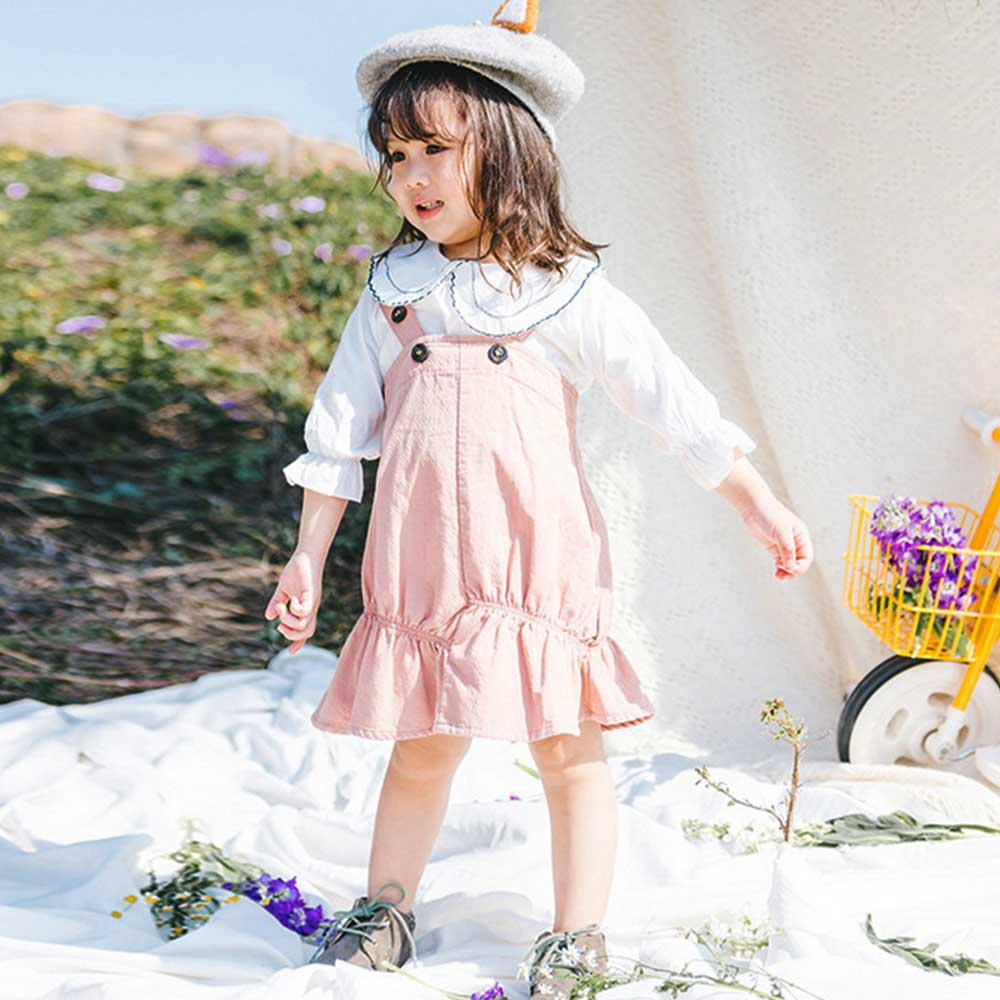 Baby unicorn 粉紅荷葉吊帶短裙