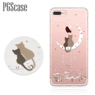 PGS iPhone8/7 Plus 5.5吋奧地利彩鑽防摔手機殼-相愛貓咪