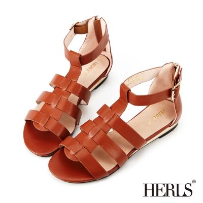 HERLS-內真皮低跟羅馬涼鞋-棕色