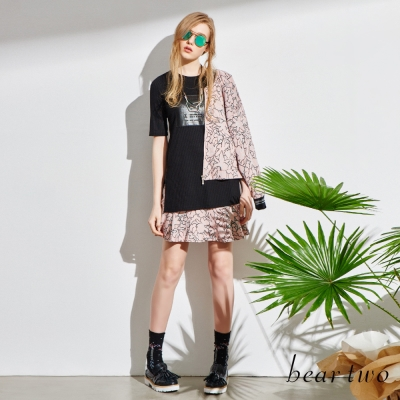 beartwo-春意花卉圖案彈性腰頭短裙-共二色