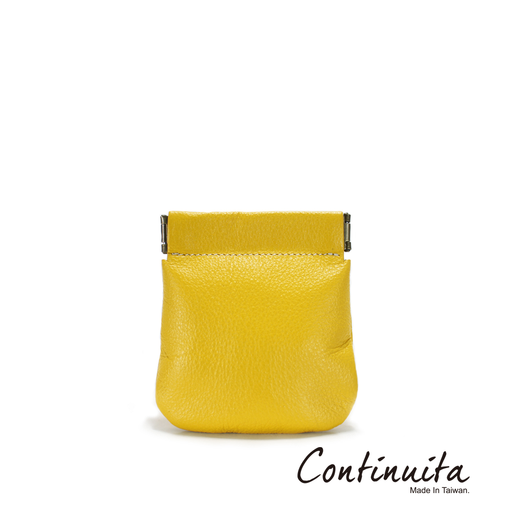 Continuita 康緹尼 MIT 頭層牛皮口袋零錢包 黃色