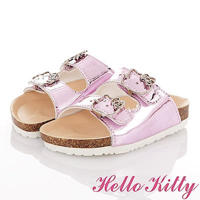 HelloKitty 俏麗閃亮輕便減壓吸震腳床型拖鞋童鞋-粉