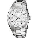 CASIO卡西歐 EDIFICE 三針系列手錶-白x銀