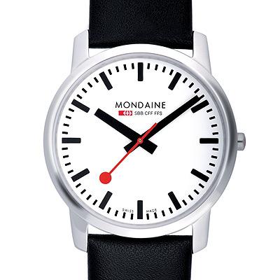 Mondaine 瑞士國鐵藍寶石水晶薄型腕錶-白/41mm