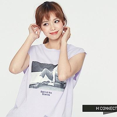 H:CONNECT 韓國品牌 女裝 -隨性風圖像印花背心-紫