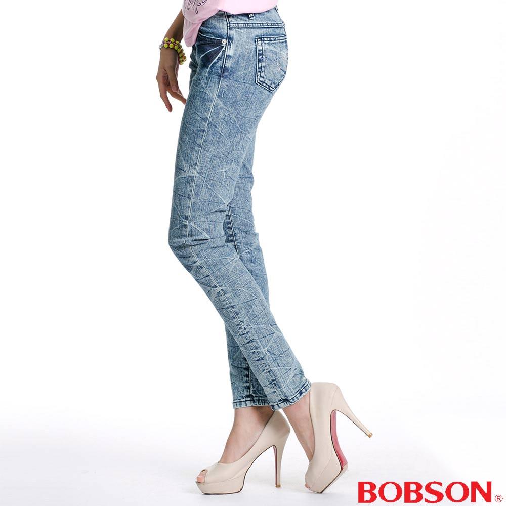 BOBSON 女款30度雪俏小直筒褲(淺藍58)