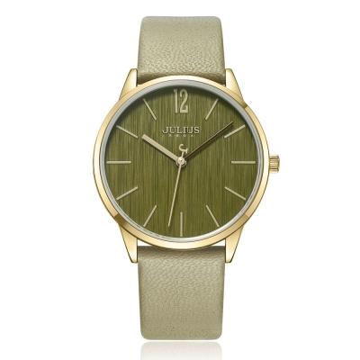 JULIUS聚利時 秋日暖陽直紋錶面皮錶帶腕錶-卡其/36mm