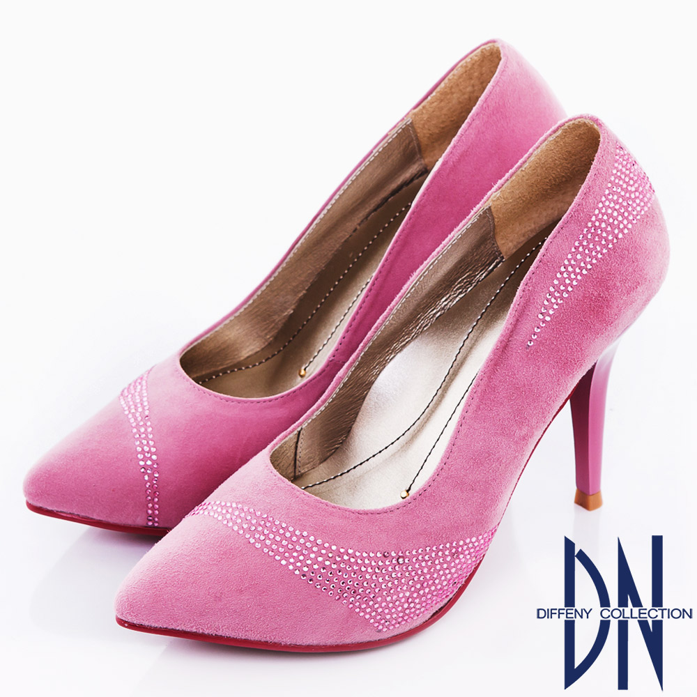 DN 玩美性感 流線水鑽羊麂皮尖頭高跟鞋 粉