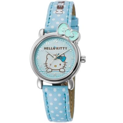 HELLO KITTY 凱蒂貓嬌滴圓點蝴蝶結手錶-粉藍/27mm