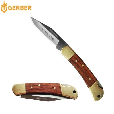 Gerber Winchester雙材質黃銅/木紋手柄折疊刀(鮑伊刀款)22-41324