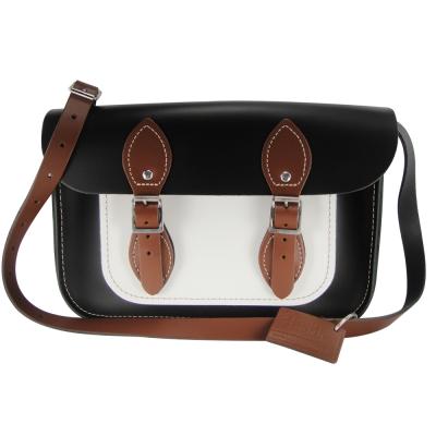 The Leather Satchel 英國手工牛皮劍橋包 肩背 側背包 個性黑 11吋