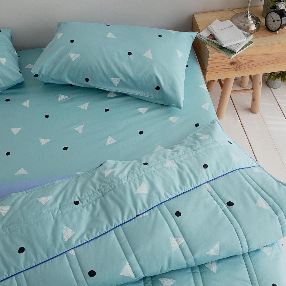 絲薇諾 MIT精梳純棉 法式甜派-藍色 加大四件式-薄床包鋪棉被套組