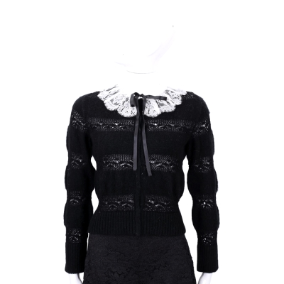 PHILOSOPHY 黑色蕾絲領拼接針織外套