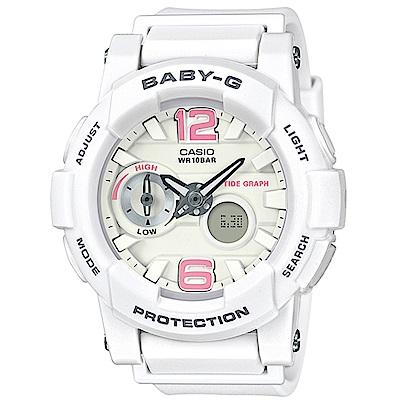 BABY-G衝浪板造型粉嫩春天氣息風格休閒錶(BGA-180BE-7)白X粉紅時刻44mm