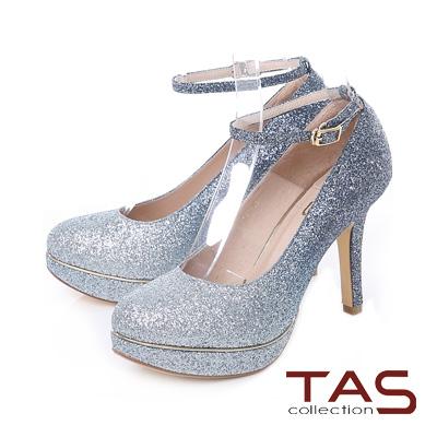 TAS 兩穿式亮粉金屬邊條踝繫帶高跟鞋-閃耀藍