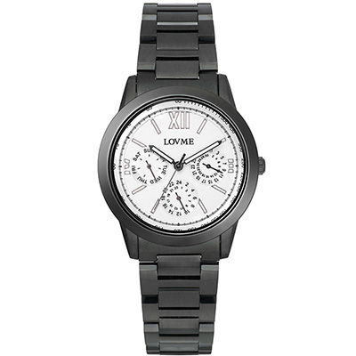 LOVME 極品時尚三眼腕錶-IP黑x白圈/35mm