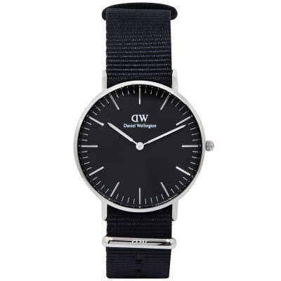 Daniel Wellington BLACK CORNWALL黑尼龍x銀手錶/36mm