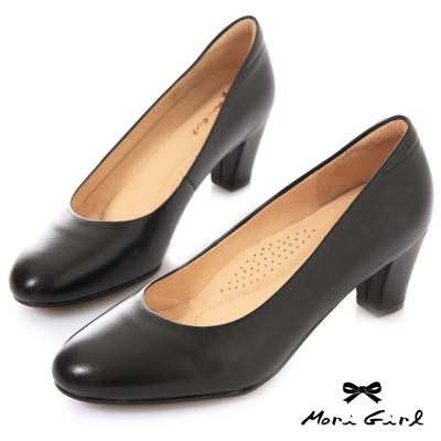 Mori girl 通勤定番•MIT台製柔軟全真皮中跟鞋 黑