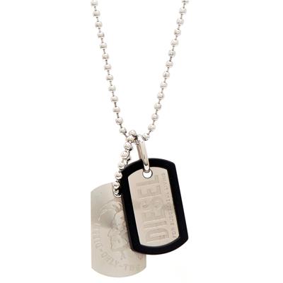 DIESEL 銀色細緻風格的軍牌項鍊