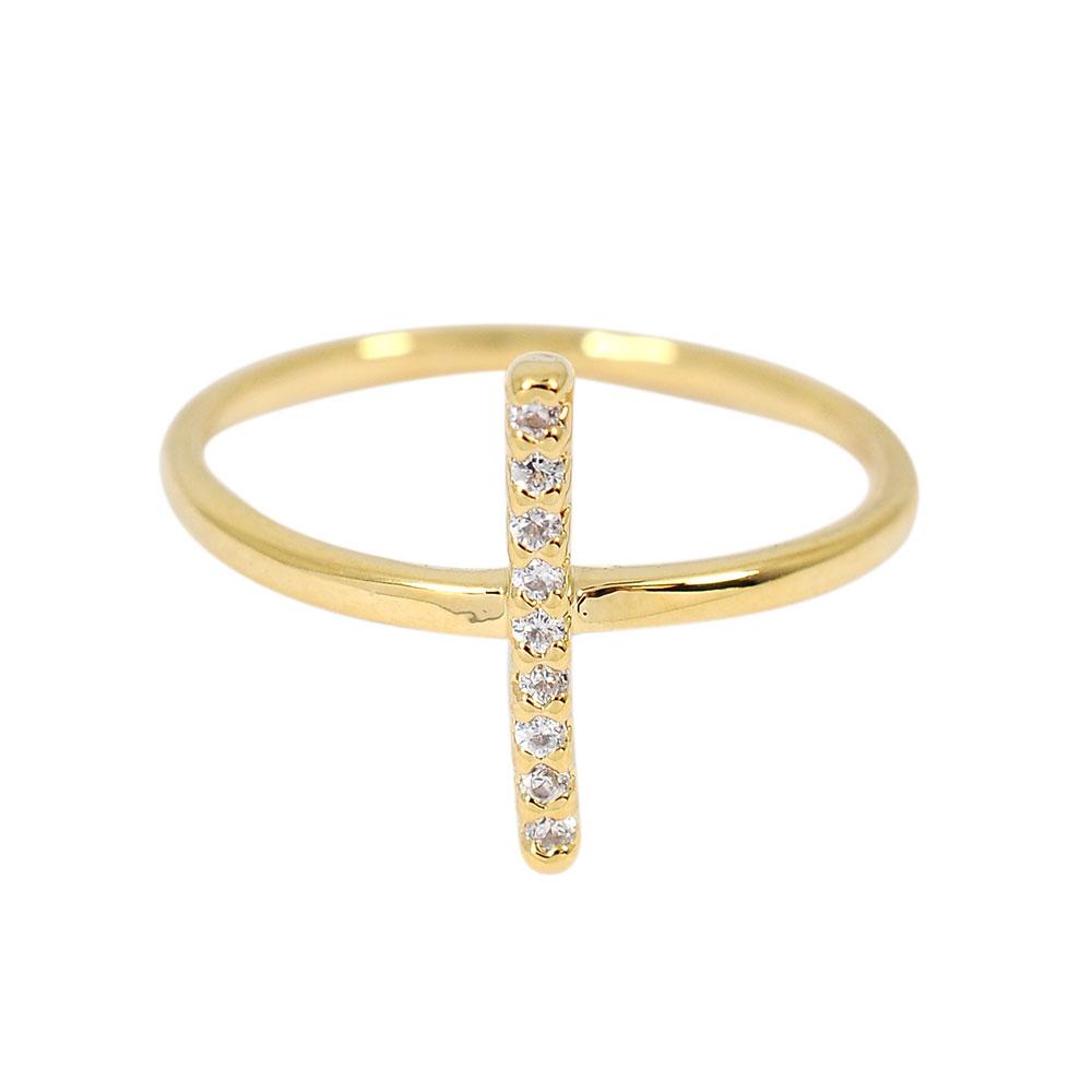 ASTRID&MIYU英國潮流品牌 十字水鑽可調節戒指 金色