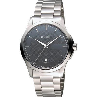 GUCCI G-Timeless 古馳菱格紋時尚腕錶-灰/38mm