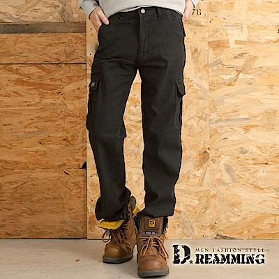 Dreamming 型男素面多口袋休閒伸縮工作長褲-黑色