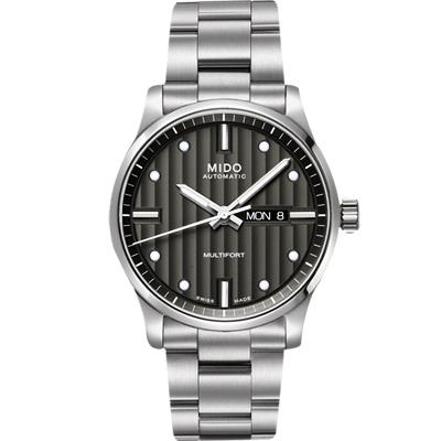MIDO 美度 Multifort 系列經典機械腕錶-灰黑x銀/42mm