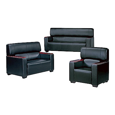 品家居 瓦多黑透氣皮革沙發組合(1+2+3人座)