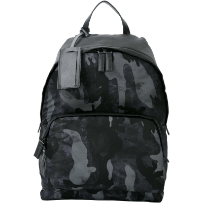 PRADA 迷彩圖印前袋設計名牌吊飾尼龍後背包(黑色)