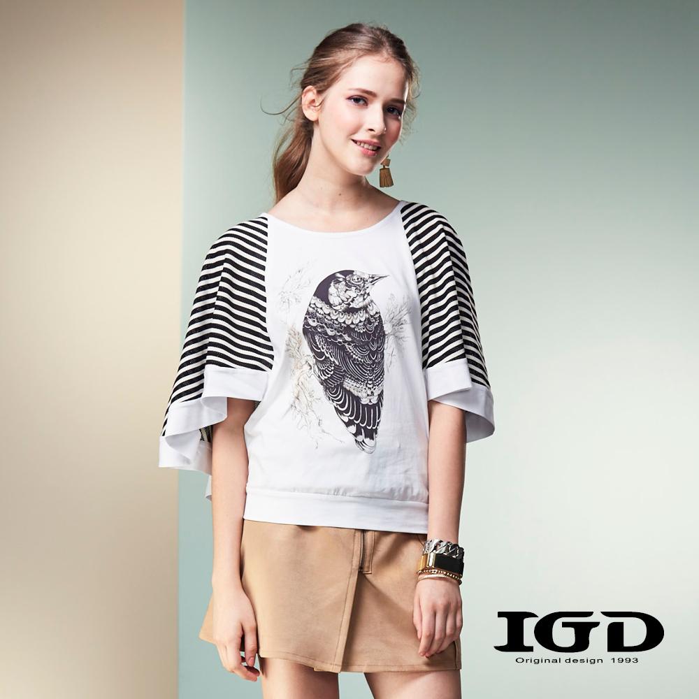 IGD英格麗 鴞雀印花飛鼠寬袖上衣-白