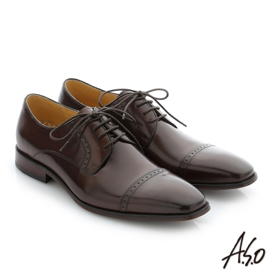 A.S.O 尊榮青紳 牛皮奈米綁帶紳士鞋 咖啡色