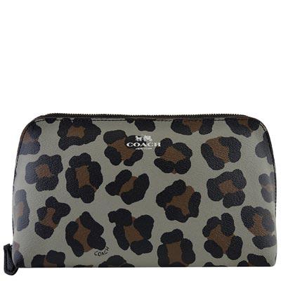 COACH-黑色豹紋圖樣PVC化妝包