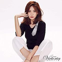 Victoria 絲巾變化羅紋布七分袖T-女-黑