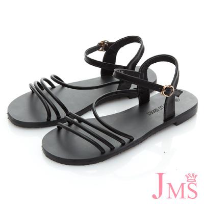 JMS-沁涼夏日優雅線條平底涼鞋-黑色