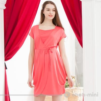 【ohoh-mini 孕婦裝】高腰剪接綁帶花苞小洋裝