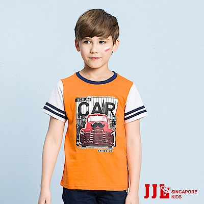 JJLKIDS 復古車車印花短袖棉上衣T恤(橙色)