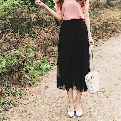 婚禮系列~浪漫蕾絲拼接純色層次感中長紗裙-OB嚴選