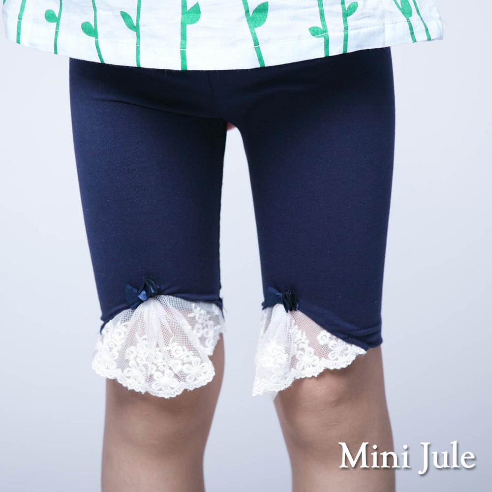 Mini Jule-內搭褲 蕾絲褲管立體蝴蝶結內搭褲(深藍)