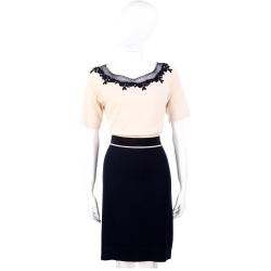 PHILOSOPHY 米x深藍色蕾絲織花拼接短袖洋裝