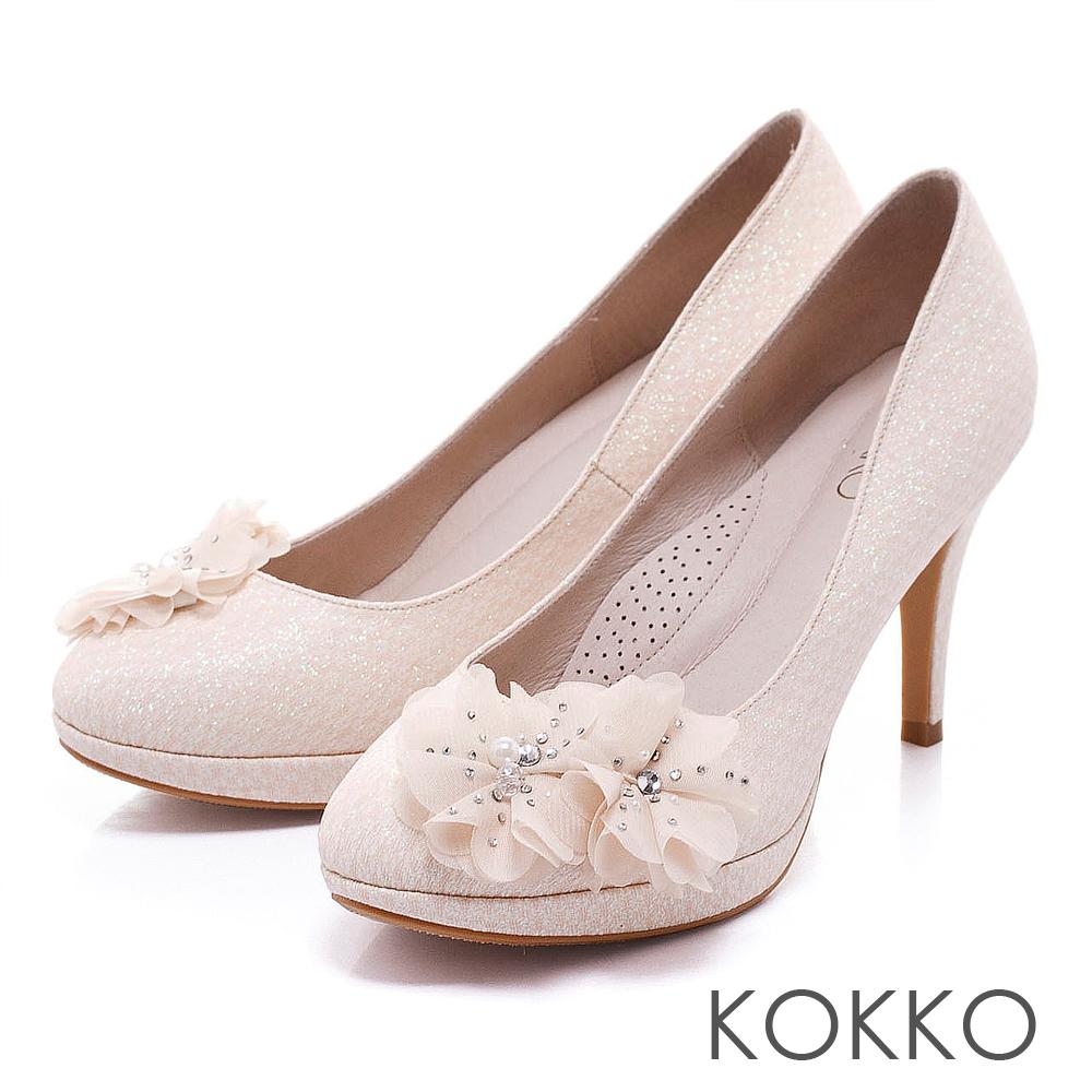KOKKO真皮手工 - 浪漫花朵奢華公主高跟鞋 - 貴金