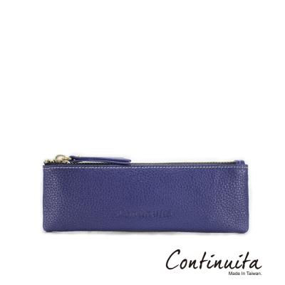 Continuita-康緹尼-MIT-頭層牛皮多功能筆袋-藍