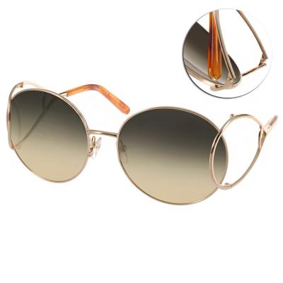 CHLOE太陽眼鏡-金屬鏤空廣告款-金-漸層茶-C